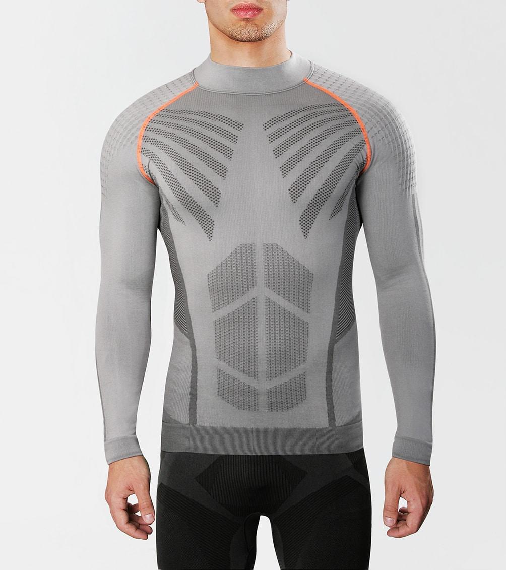Męska koszulka sportowa na siłownię, z włóknem węglowym, na narty, idealna na zimę do sportów zimowych