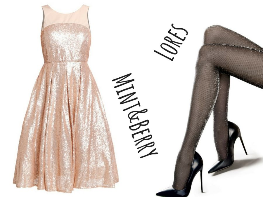 Outfit na Sylwestra – sukienka z cekinami, błyszczące rajstopy