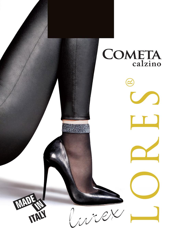 COMETA – cienkie skarpetki damskie z błyszczącym ściągaczem
