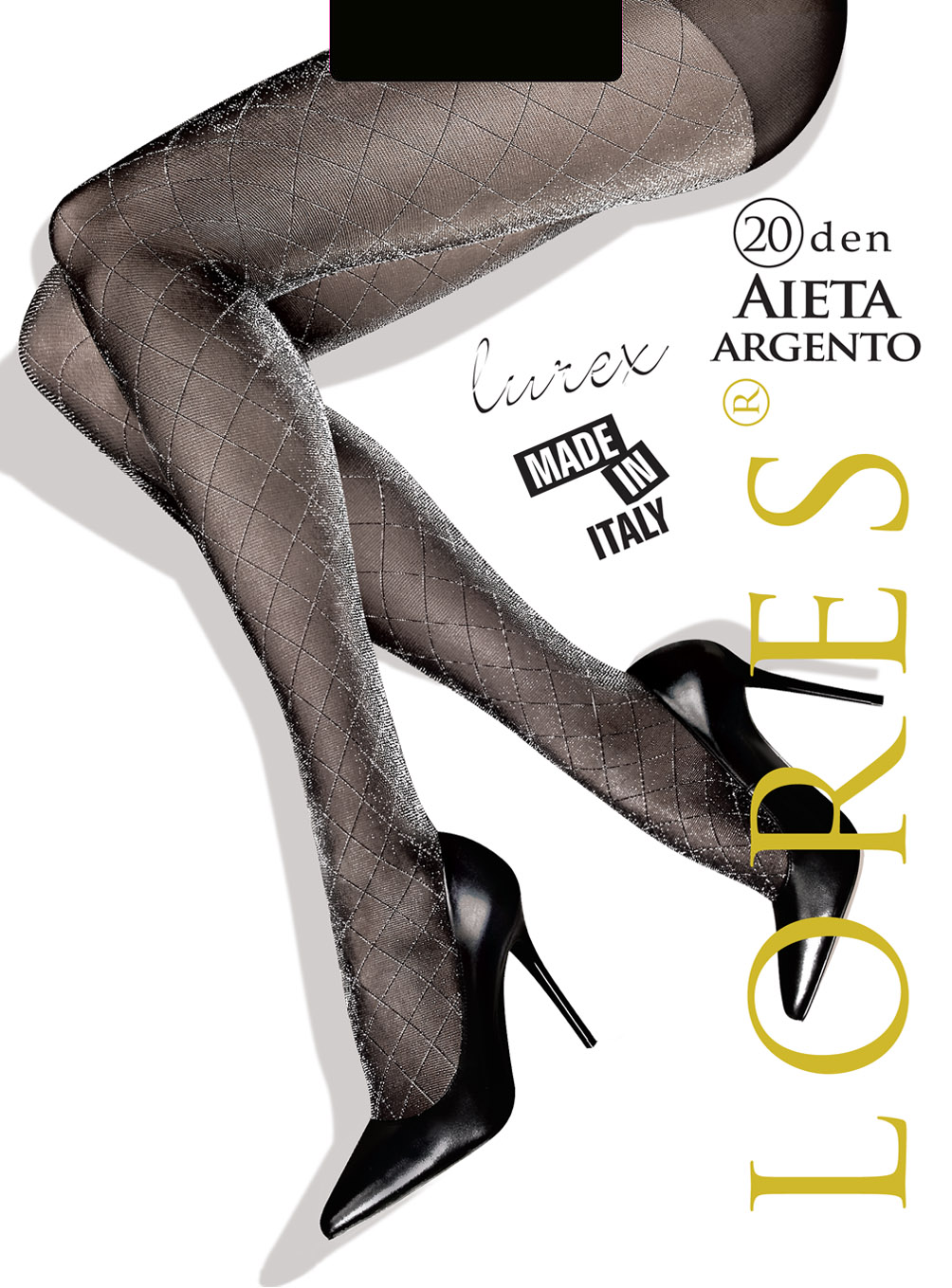 AIETA ARGENTO – błyszczące rajstopy ze wzorem – 20 den